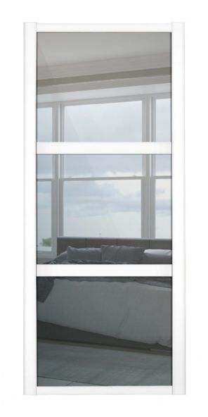 Shaker Sliding Wardrobe Door- WHITE FRAME - 3 MIRROR PANELS